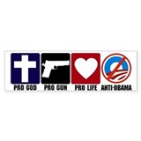 Pro God Guns Life Anti Obama Stickers