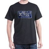 Made in Detroit 1976 License Plate Black T-Shirt
