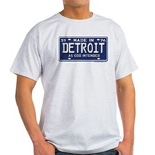 Made in Detroit 1976 License Plate Ash Grey T-Shir