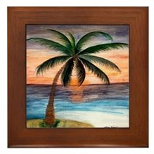 Palm Tree Sunset Art Framed Tile