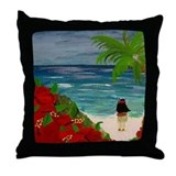 Hula Girl Art Throw Pillow