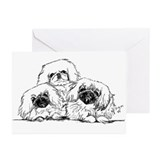3 Pekingese Puppies Greeting Cards (Pk of 10)
