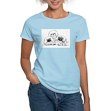 3 Pekingese Puppies Women's Pink T-Shirt