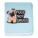 Pugs Not Drugs baby blanket