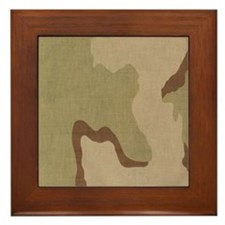 3 color desert bdu Framed Tile