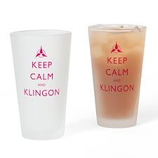 Keep Calm and Klingon Pink Drinking Glass