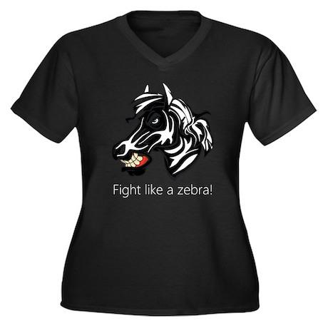 Fight Like a Zebra Women's Plus Size V-Neck Dark T