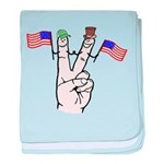 Happy Peace Fingers baby blanket