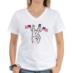Happy Peace Fingers Women's V-Neck T-Shirt
