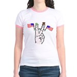 Happy Peace Fingers Jr. Ringer T-Shirt