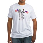 Happy Peace Fingers Fitted T-Shirt