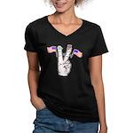 Happy Peace Fingers Women's V-Neck Dark T-Shirt