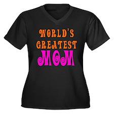 World's Greatest mom Women's Plus Size V-Neck Dark