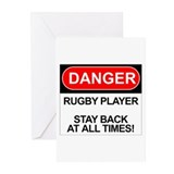 """Danger Rugby Player"" Greeting Cards (Pk of 10"