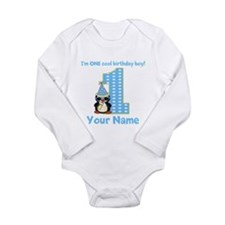 1st Birthday Penguin Long Sleeve Infant Bodysuit