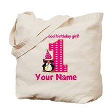 1st Birthday Penguin Girl Tote Bag