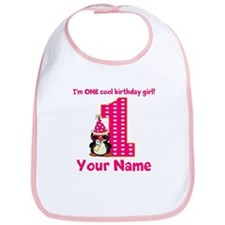 1st Birthday Penguin Girl Bib