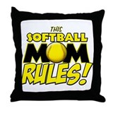 This Softball Mom Rules Throw Pillow