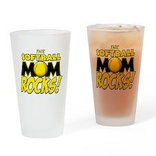 This Softball Mom Rocks Drinking Glass