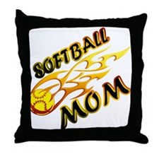 Softball Mom (flame) Throw Pillow