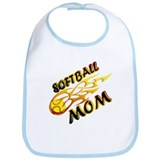 Softball Mom (flame) Bib