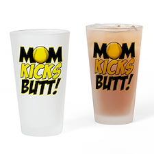Mom Kicks Butt Drinking Glass