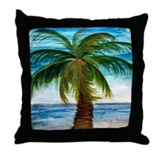 Palm Tree Blue Sky Throw Pillow
