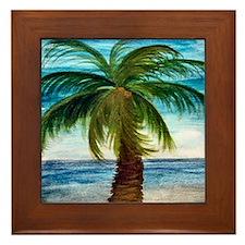 Palm Tree Blue Sky Framed Tile