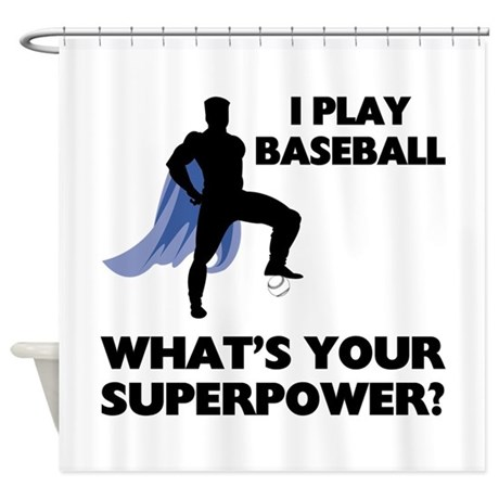 Baseball Superhero Shower Curtain by sportsnuts