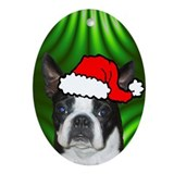 SANTA PAWS Boston Terrier Ornament (Oval)