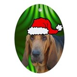 SANTA PAWS Bloodhound Ornament (Oval)