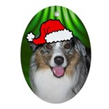 SANTA PAWS Aus Shepherd Ornament (Oval)