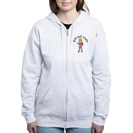 Nurse in Pink Scrubs (Blonde) Women's Zip Hoodie