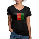 Afghanistan Flag Women's V-Neck Dark T-Shirt