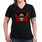 Antigua and Barbuda Flag Women's V-Neck Dark T-Shi