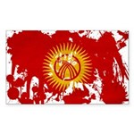 Kyrgyzstan Flag Sticker (Rectangle 10 pk)