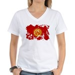 Kyrgyzstan Flag Women's V-Neck T-Shirt