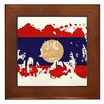 Laos Flag Framed Tile