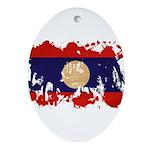 Laos Flag Ornament (Oval)