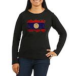 Laos Flag Women's Long Sleeve Dark T-Shirt