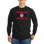Laos Flag Long Sleeve Dark T-Shirt