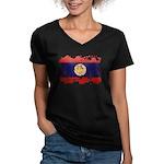 Laos Flag Women's V-Neck Dark T-Shirt