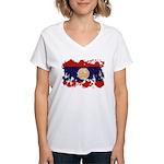 Laos Flag Women's V-Neck T-Shirt