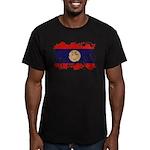 Laos Flag Men's Fitted T-Shirt (dark)