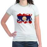 Laos Flag Jr. Ringer T-Shirt