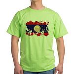 Laos Flag Green T-Shirt