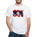 Laos Flag White T-Shirt