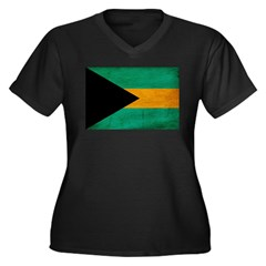 Bahamas Flag Women's Plus Size V-Neck Dark T-Shirt