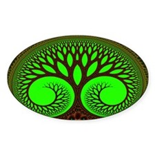 """Tree 2"" Fractal Art Oval Bumper Stickers"