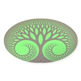 &quot;Tree 2&quot; Fractal Art Oval Decal